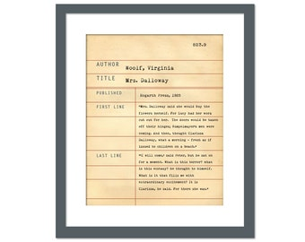 Mrs. Dalloway by Virginia Woolf - Library Card Art Print - Book Lovers Poster - Library Poster - Book Gift - Dewey Decimal System - Literary