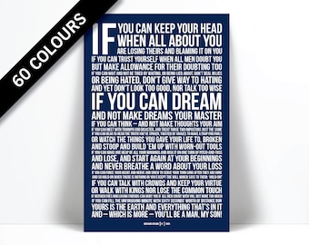 If by Rudyard Kipling - Art Print - Poetry Quote Poster - Motivational Inspirational Typography Poster - Graduation Gift - Classroom Art