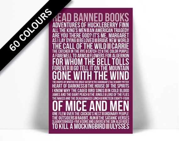 Read Banned Books Library Poster Typographic Print Book | Etsy