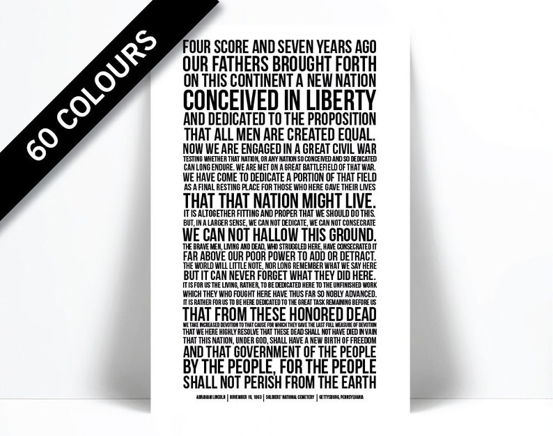 picture regarding Gettysburg Address Printable identify Gettysburg Cover - Abraham Lincoln - Presidential Speech - Typographic Print - Civil War Artwork - American Historical past Poster - Ancient Artwork