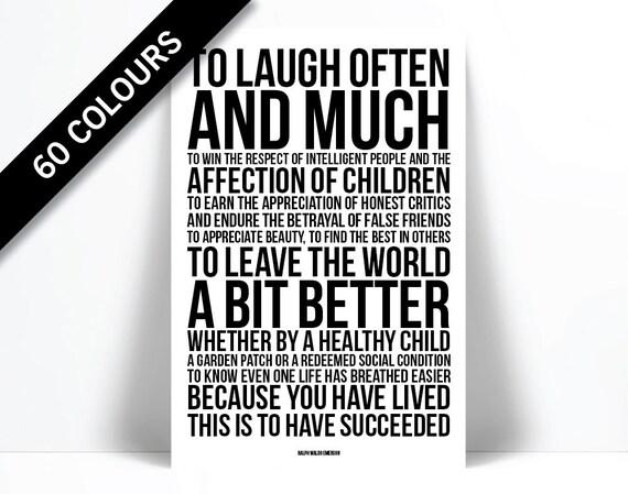 Ralph Waldo Emerson Quote Art Print To Laugh Often Etsy