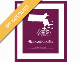 Massachusetts Roots - State Map Art Print - Massachusetts Map - Massachusetts Art Print - Massachusetts Poster - Travel - Custom State Print