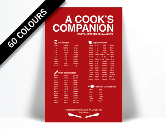 Cooking Measurements Conversions Cooking Infographic Etsy