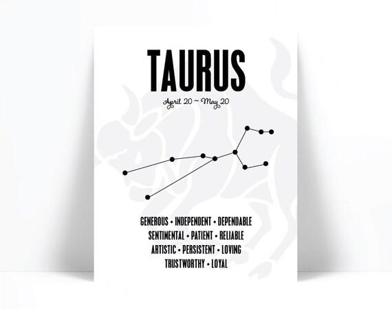 Taurus Personality Character Traits Birthday Gift Typography Poster Horoscope Art Print Astrology Zodiac Wall Art Subway Art Print