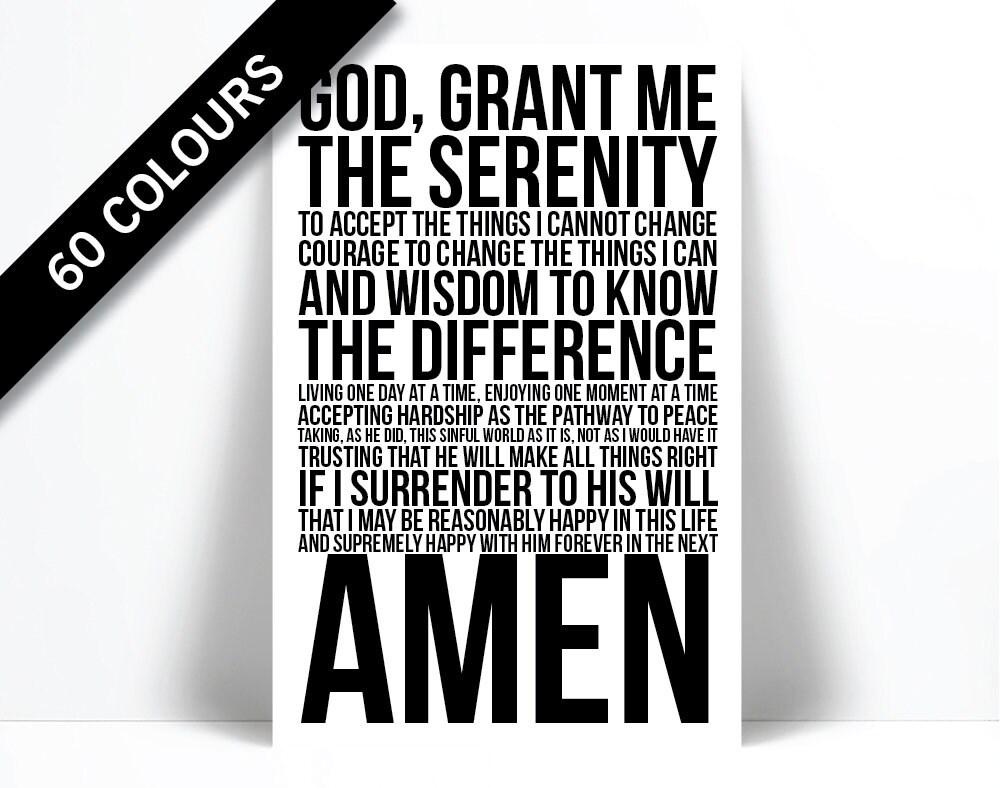 Serenity Prayer Art Print Motivational Inspiration Quote  4971a19e5bce8