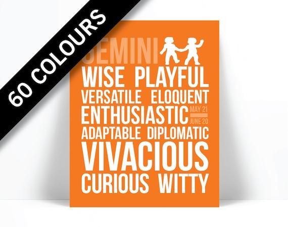 Gemini Personality Character Traits - Subway Art Print - Typography Poster  - Astrology Zodiac Wall Art - Birthday Gift - Horoscope Art Print