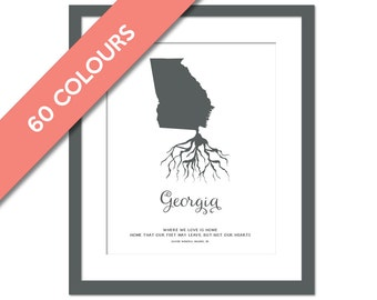 Georgia Roots - State Map Art Print - Georgia Map - Geography Poster - Georgia Art Print - Georgia Poster - Travel Art  - Custom State Print