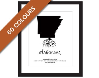 Arkansas Roots - State Map Art Print - Arkansas Map - Geography Poster - Arkansas Art Print - Arkansas Poster - Travel Art  - Custom State