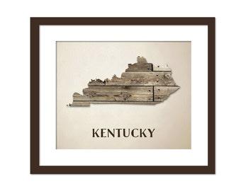Kentucky Map Art Print - State Map - Wood Background Rustic Art Poster - Geography Poster - Kentucky Art Print - 10x8 Art Decor