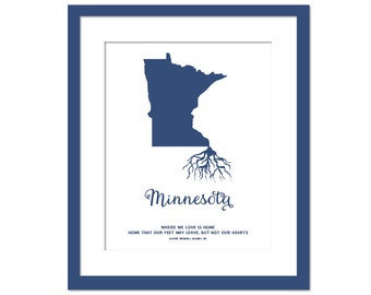 Minnesota Roots - State Map Art Print - Minnesota Map - Geography - Minnesota Art Print - Minnesota Poster - Travel Art - Custom State Print
