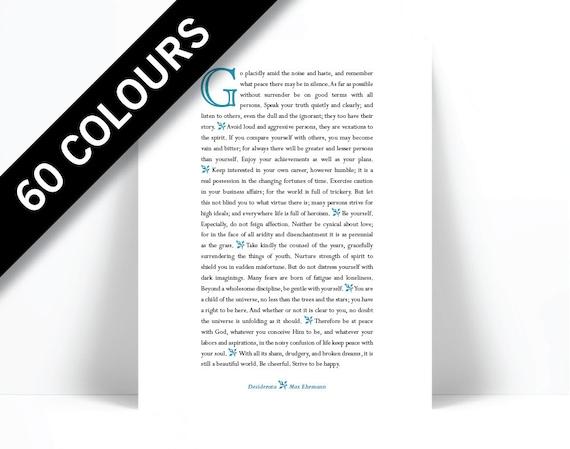 7410a7ba4 Desiderata Max Ehrmann - Literary Quote - Inspirational Art - Motivational  Print - Proverb - Typographic Print - Inspirational Poem - Poetry