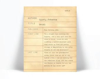 Heidi by Johanna Spyri - Library Card Art Print - Book Lovers Poster - Library Poster - Book Gift - Dewey Decimal System - Literary Decor