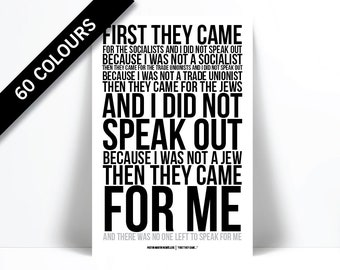 First They Came Then They Came For Me Art Print - Martin Niemöller - Holocaust Poem - Racism Civil Human Rights - Immigration Fascism Poster