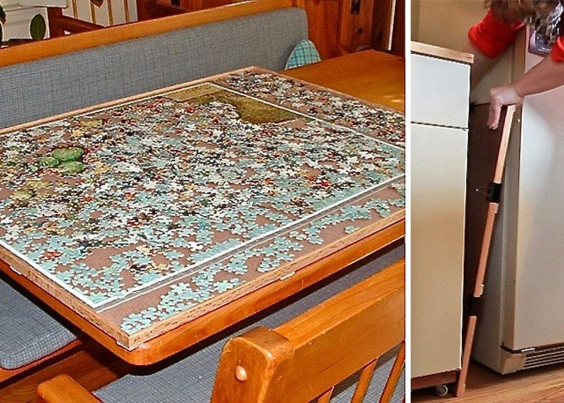 Jigsaw Puzzle Board Table Portable Vertical Storage Wood Caddy Large 1500 Piece Frame