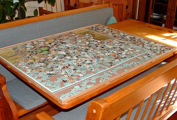 Jigsaw Puzzle Board Table Portable Vertical Storage Wood Caddy Etsy