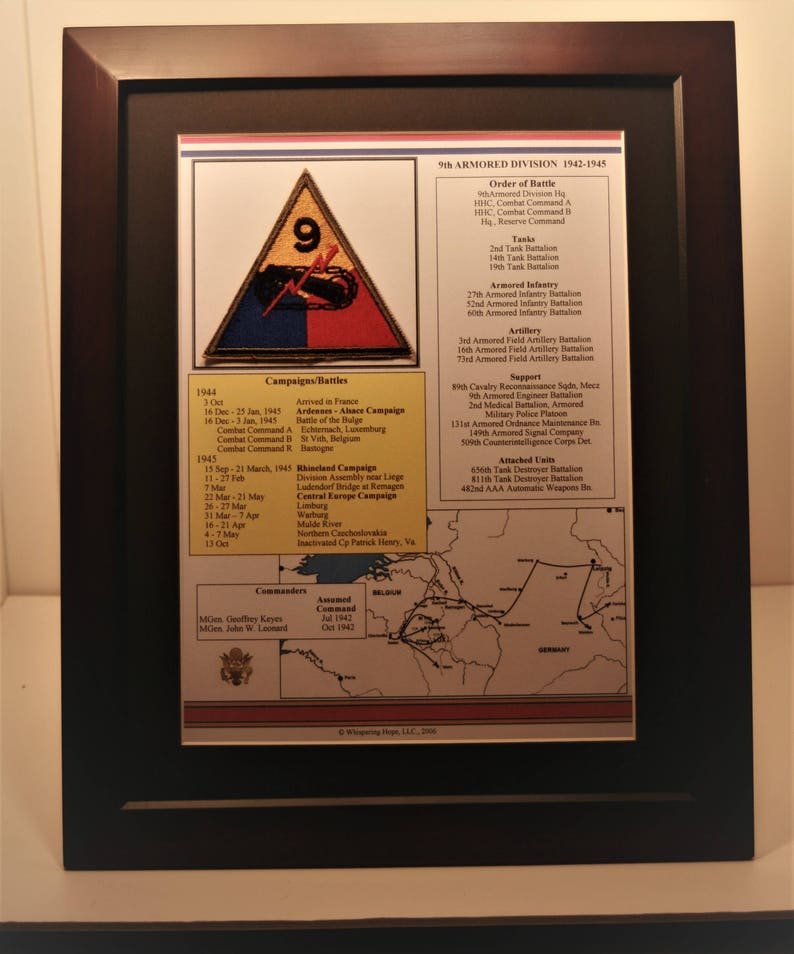 9th Armored Division Unit History and Patch in World War II 11