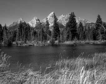 Nature Photography, Black and White Art, Grand Teton, Black and White, Wall Art, Tetons, Mountains, Tetons Photography, Tetons Wyoming