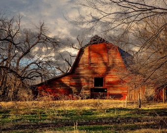 Red Barn Photography Print - Wall Art Landscape Picture of Rustic Barn on Late Autumn Day in Oklahoma Western Farmhouse Photo Decor