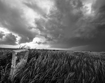 Black and White Fine Art Print - Picture of Stone Marker and Storm in Northern Kansas Western Photography Rustic Photo Art Country Decor