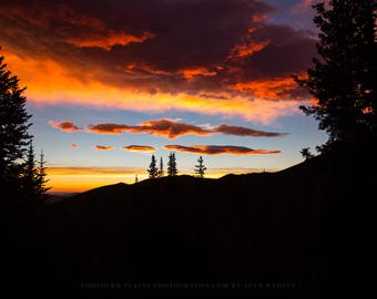 Colorado Photography Print - Picture of Mountain Silhouette During Fiery Sunrise in Rocky Mountain National Park Nature Home Decor Photo
