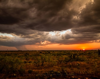 West Texas Photography Art Print - Picture of Scenic Sunset and Distant Rainfall on Stormy Day on Plains Landscape Western Decor