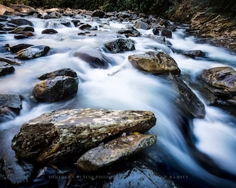 Smoky Mountain Picture, Tennessee Art, River Photography, River Landscape, Smoky Mountains, Fine Art Print, Flowing River Art, River Decor