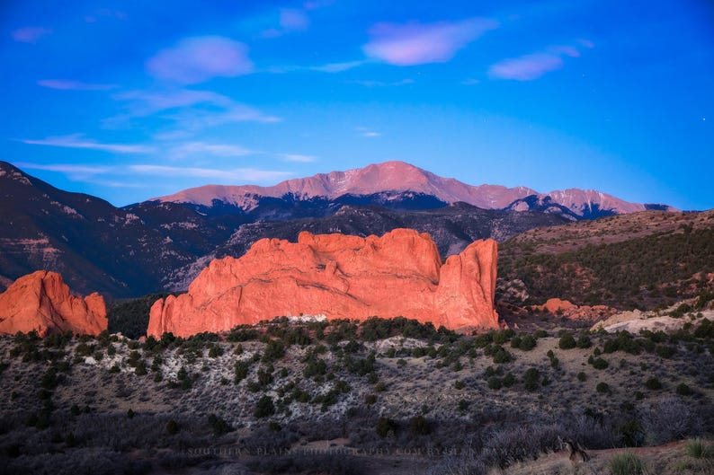 Mountain Photography Wall Art Print Picture Of Pikes Peak Overlooking Garden Of The Gods On Winter Morning In Colorado Springs Decor