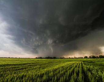 Kansas Fine Art Print - Photography Print of Tornado Revealing Itself Out of Rain in Southern Kansas Weather Picture Thunderstorm Artwork