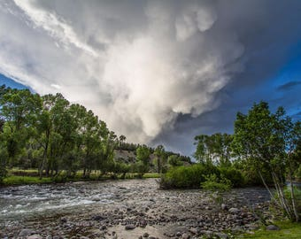 Colorado Fine Art Print - Photograph of Storm Clouds Gathering Over Mountains and San Juan River Near Pagosa Springs Cabin Home Decor Photo