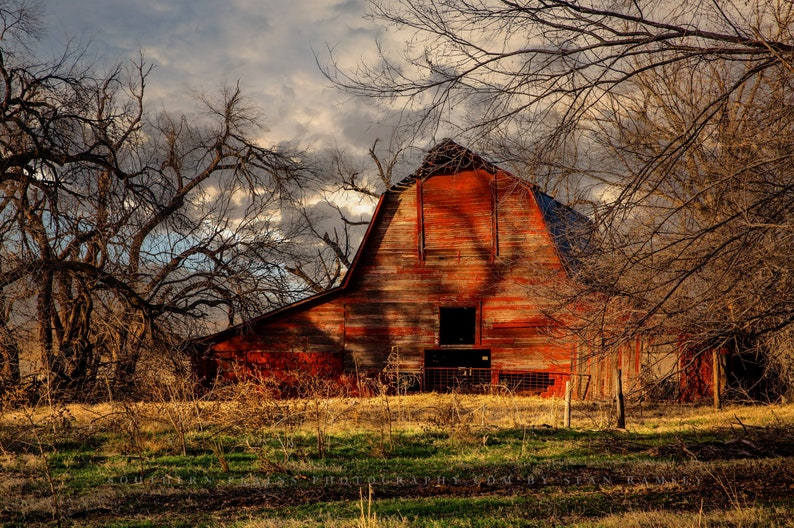 Red Barn Photography Print  Wall Art Landscape Picture of image 1