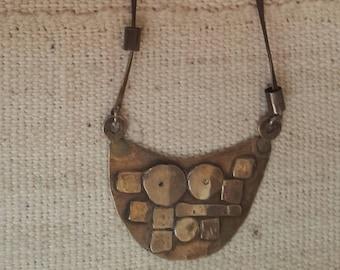 Vintage Brutalist Sterling Silver Half Moon Necklace