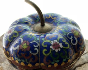 Vintage Chinese Enamel Cloisonne Apple Shaped Container