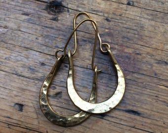 Vintage Brass Hammered Hoop Earrings