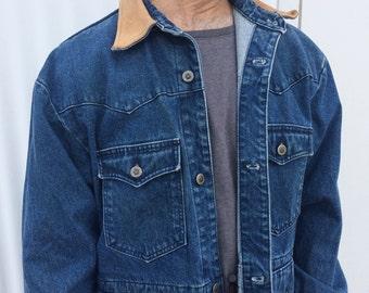 535ad305f0 Vintage Blue Denim Unisex Jacket Blue Jean Jacket XL