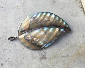 Vintage Abalone Leaf Pin