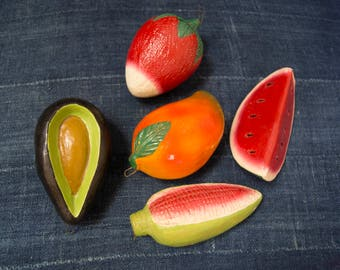 Vintage Mexican Ceramic Fruit Banks, Avocado, Mango, Strawberry, Watermelon, and Corn