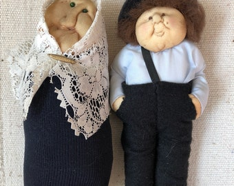 Old Jewish Couple Handmade Soft Sculpture Dolls