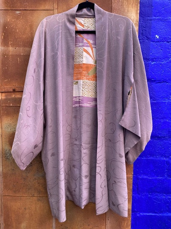 Vintage Lavender-Mauve Short Kimono