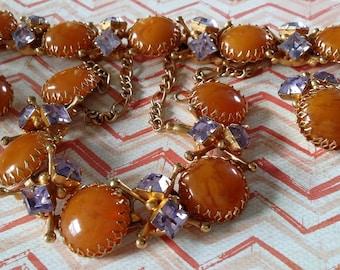 FABULOUS Egg Yolk Parure Necklace Bracelet Earrings Gold Tone Lavender Rhinestones High End Designer
