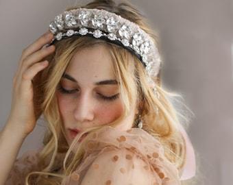 headband pink crystal hairpiece holiday lace headband blush holiday hair accessory pink sparkle padded headband