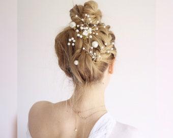 pearl Hair pin SET gold bridal hairpiece pearl pin bobby pin pearl gold bobby pin bridal hair clip flower pin bridesmaid hairpin gold pearl