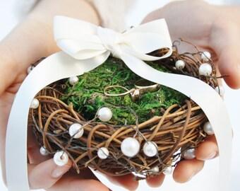 Ring bearer pillow Rustic nest ring pillow Rustic ring box Rustic wedding nest pillow Woodland ring holder Moss nest ring pillow TITANIA