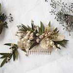 eucalyptus Hair comb greenery gold Bridal veil alternative pearl flower comb woodland dried flower lunaria comb bridal floral hair piece
