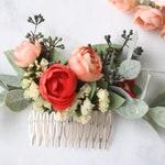 Eucalyptus Hair comb coral bridal hair piece comb flower pin coral flower hair pin bridal hair piece blush bridal pin southwestern wedding
