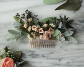 Eucalyptus bridal Hair comb blush wedding comb pink flower comb dried flower hair comb gold bridal hair piece southwestern wedding comb