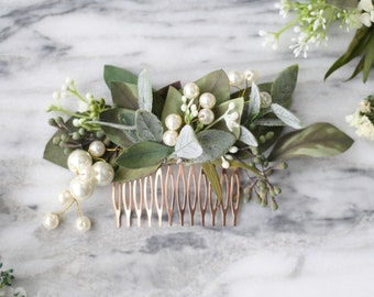 Ivory Hair Comb Pageant hair Rustic Hair Comb,Boho,Vintage Bridal Comb,Boutonni\u00e8re, Wedding Comb Greenery Flower Hair Comb Pearls