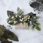 eucalyptus Hair comb greenery Bridal hair vine boho green flower pearl comb wedding dried flower comb bridal floral hair piece southwestern