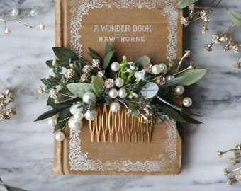 eucalyptus pearl bridal comb babys breath Bridal hair piece green dried flower pearl comb spring wedding hair accessory bridal floral comb