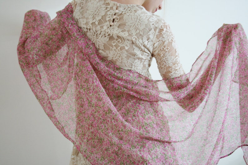 ff69a91a1 Pink scarf Pink floral shawl Sheer pink flower wrap Pink