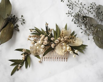 eucalyptus Hair comb greenery gold Bridal comb pearl flower comb wedding dried flower comb bridal floral hair piece wedding hair accessory